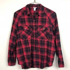 Forever 21 LA Plaid Flannel Shirt Red Black